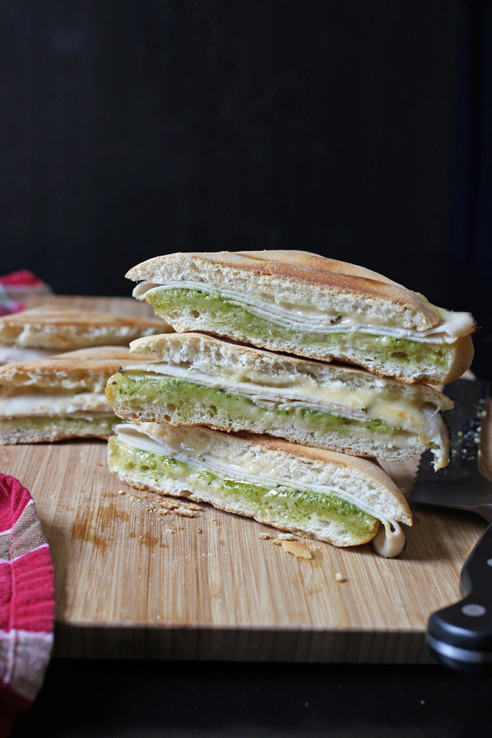 Turkey Pesto Paninis cut in half