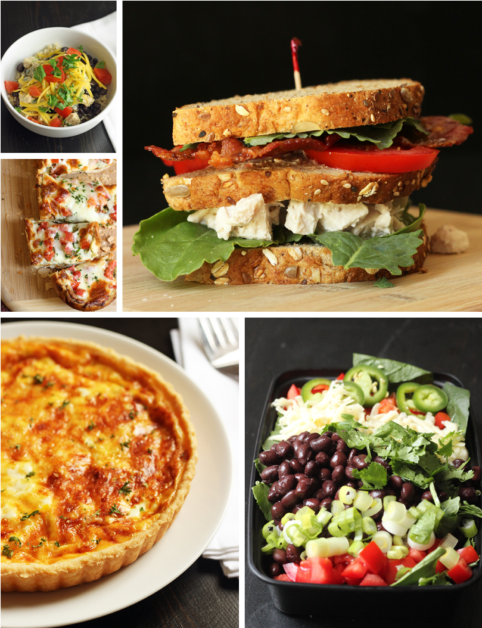 BLt Sandwich and other various foods in a photo collage