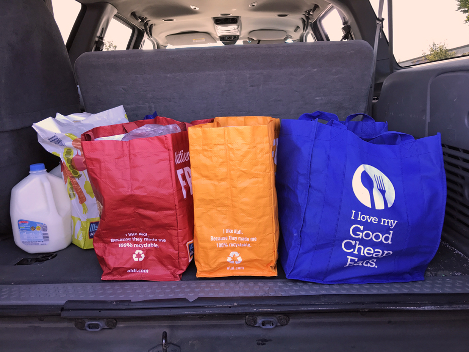 Groceries in the back of the car