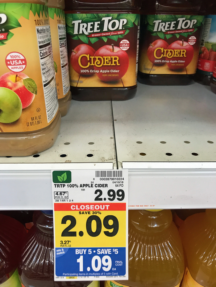 Apple cider on a grocery store shelf