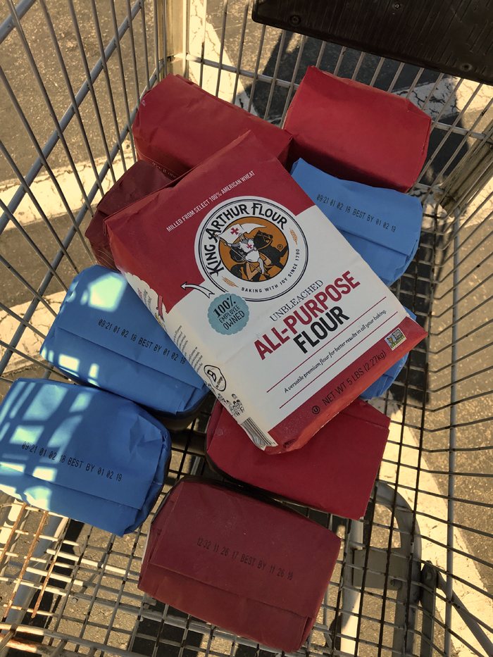 King Arthur Flour in a grocery cart