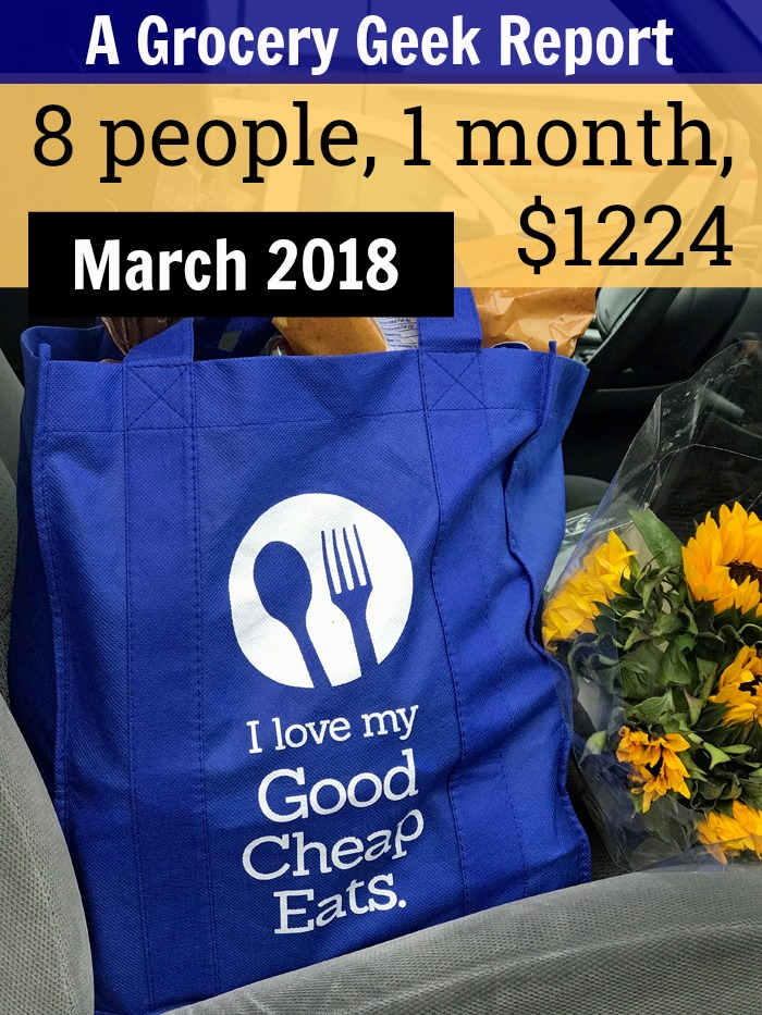 Good Cheap Eats grocery bag and flowers