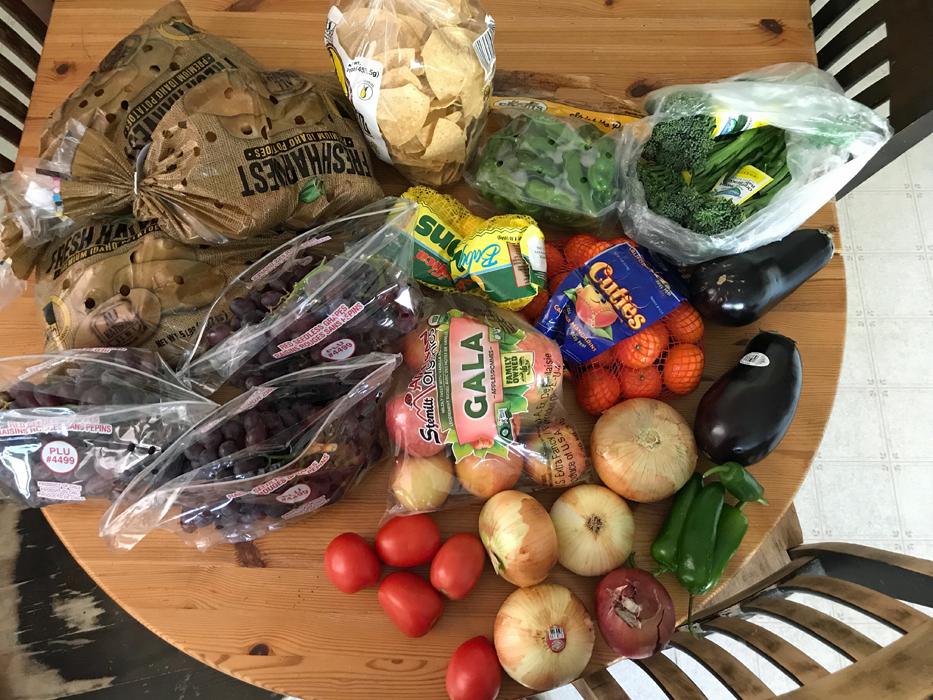 fresh produce on table top