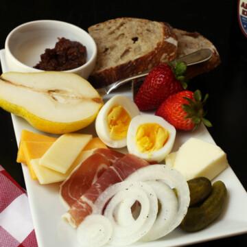 ploughman's lunch on platter
