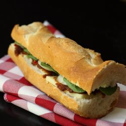 posh cheddar and pickle baguette