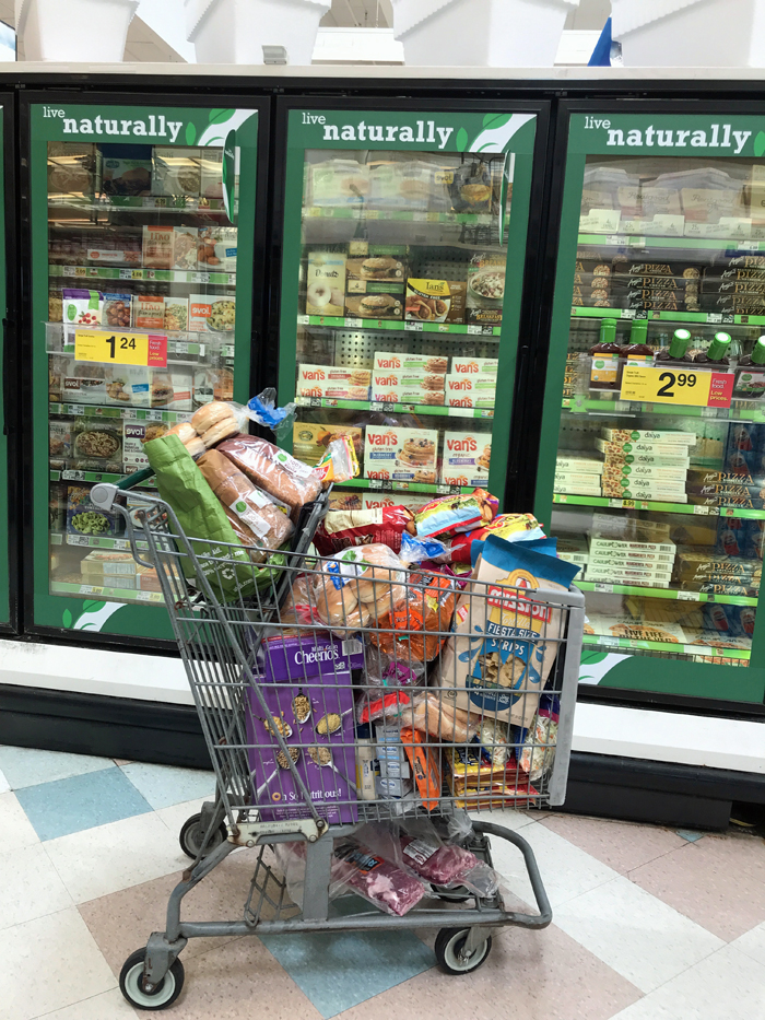 full shopping cart in freezer section of store