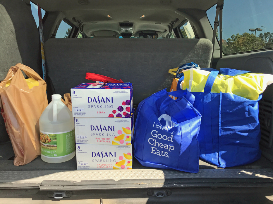 grocery bags in back of suv