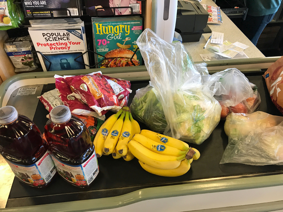 food items on checkout lane
