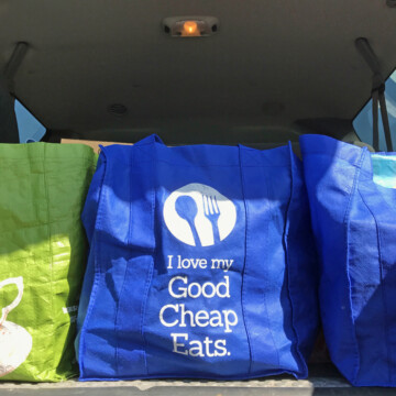 grocery bags in back seat of car
