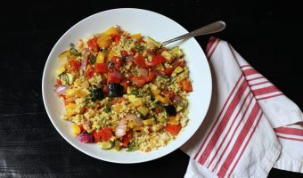 A bowl of Couscous with vegetables