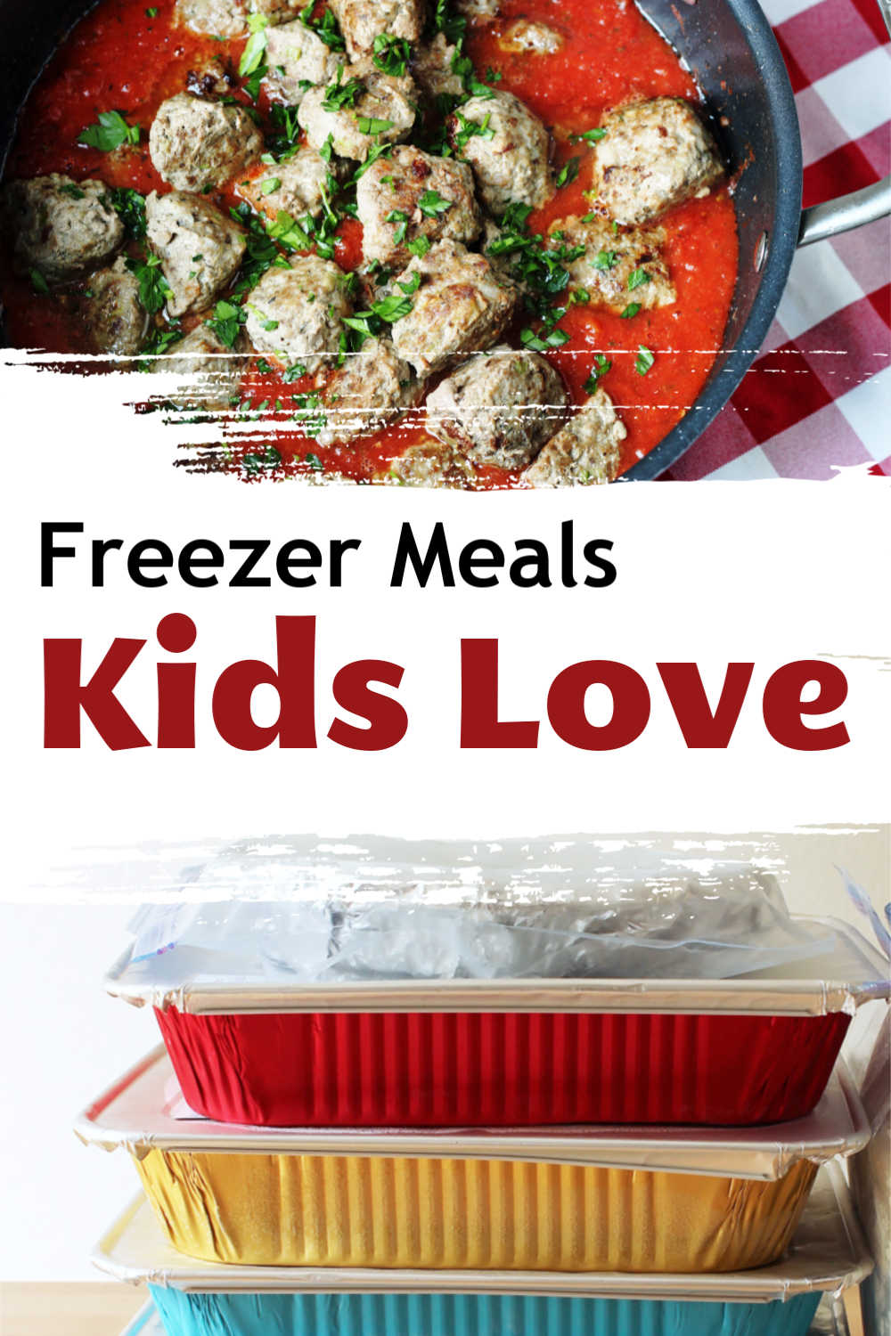 pot of meatballs and sauce, with stacked freezer meals