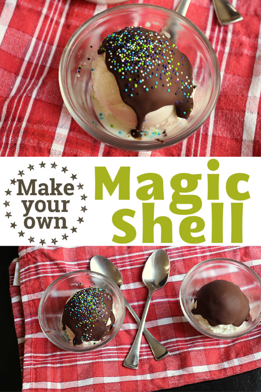 collage of bowls of magic shell and ice cream