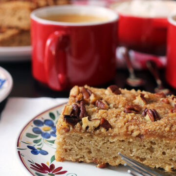 banana coffeecake on plate
