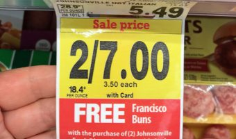 sale tag from shelf at grocery store