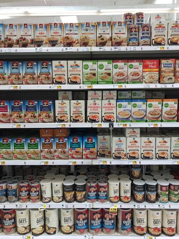 grocery aisle filled with instant oatmeal packets