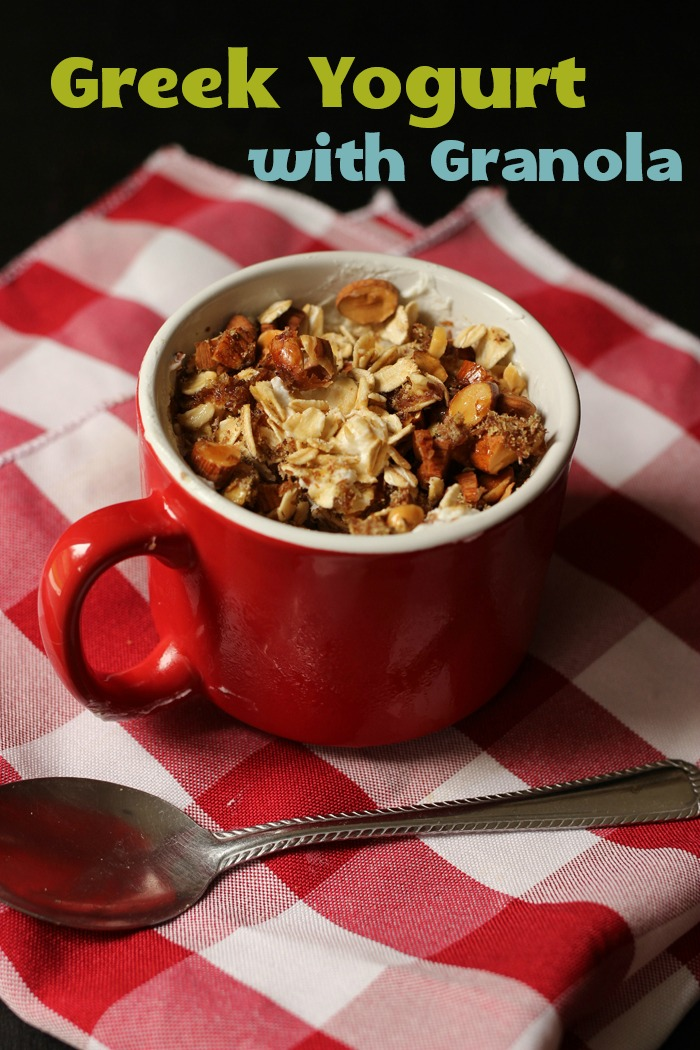 greek yogurt with granola in a mug