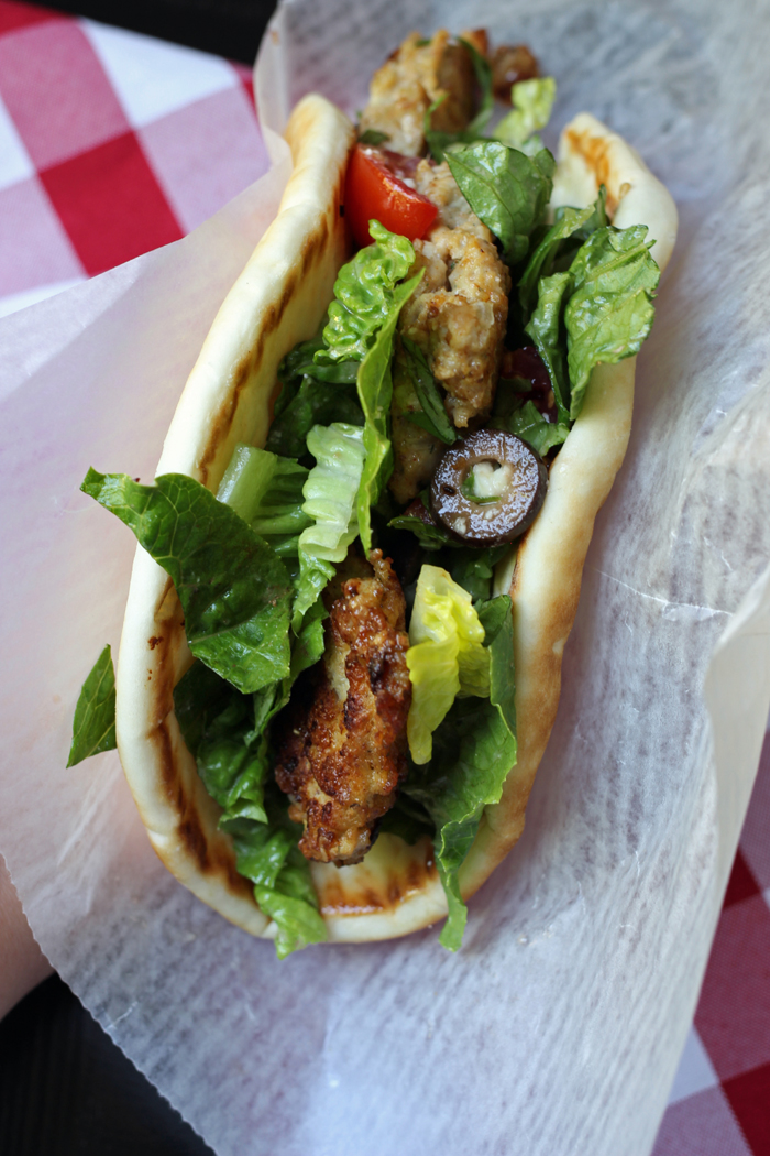 chicken patties in pita sandwich