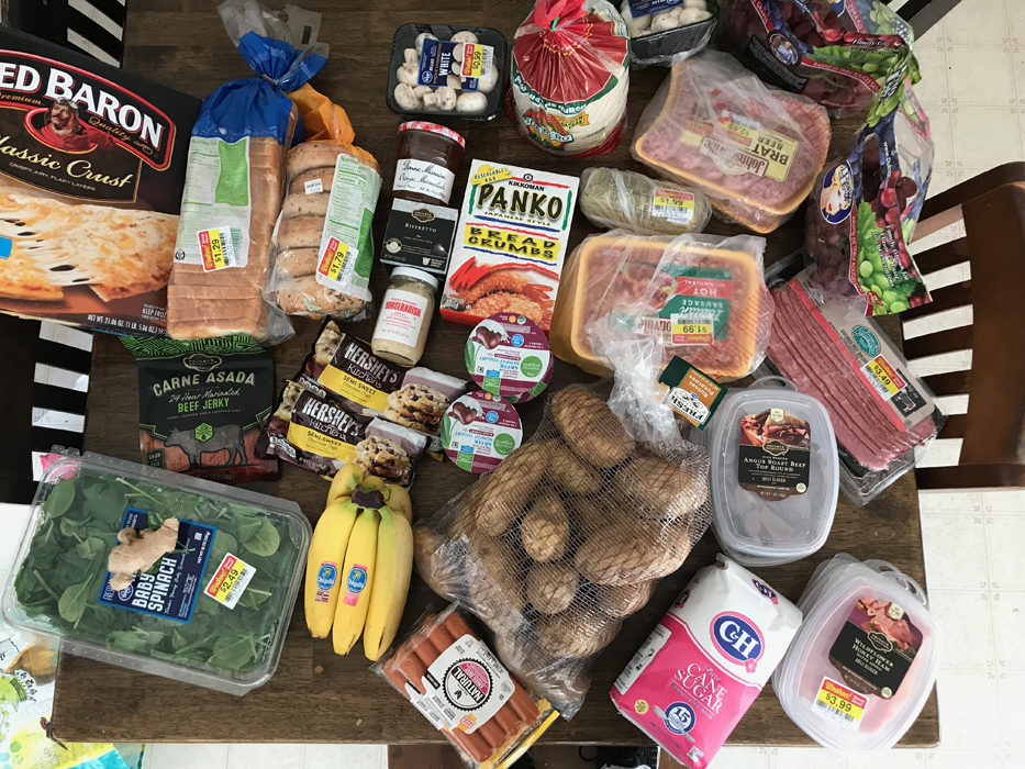 A bunch of groceries that are sitting on a table