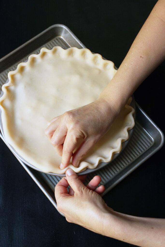crimping top crust on pie