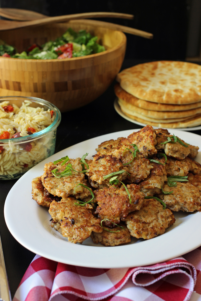 dinner spread of Chicken Patties with fixings