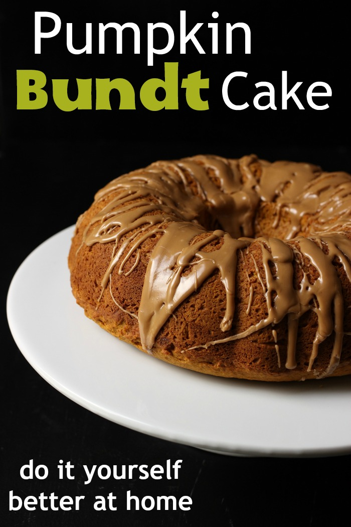 pumpkin bundt cake on a cake stand