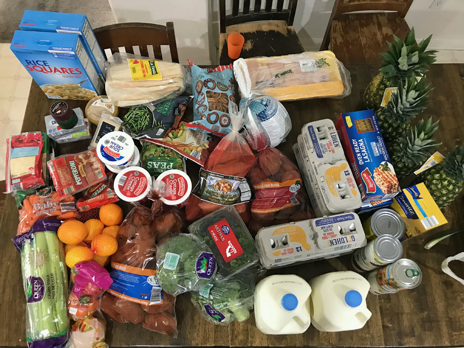 A bunch of grocery items that are on a table