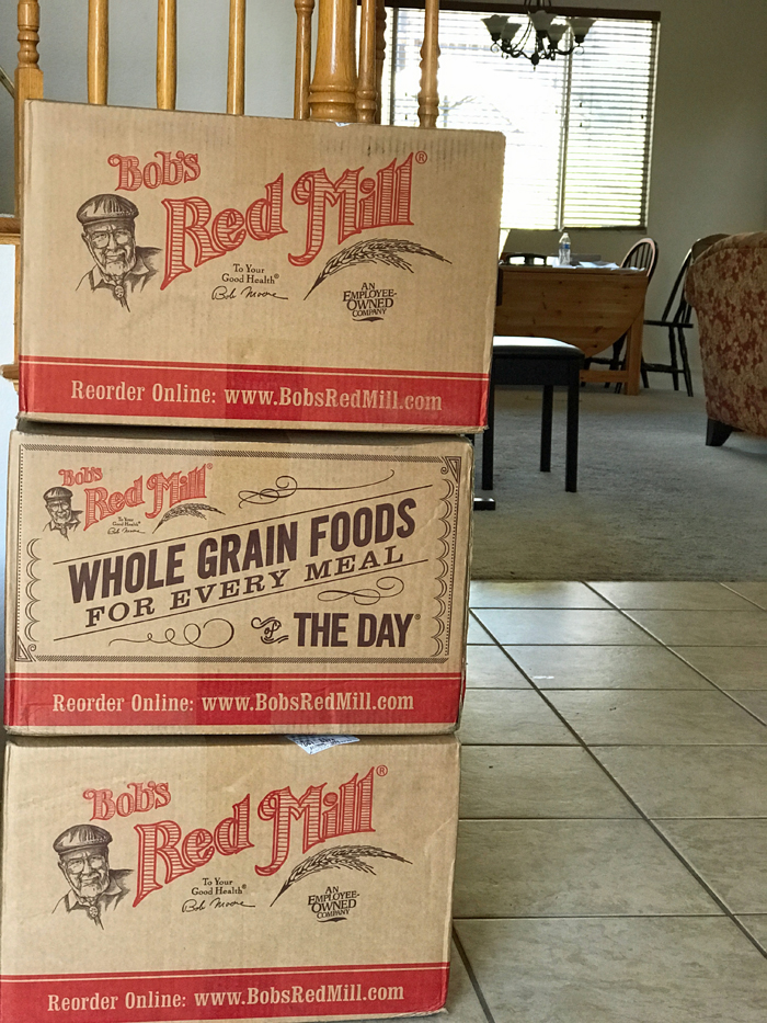 cases of flour stacked in foyer