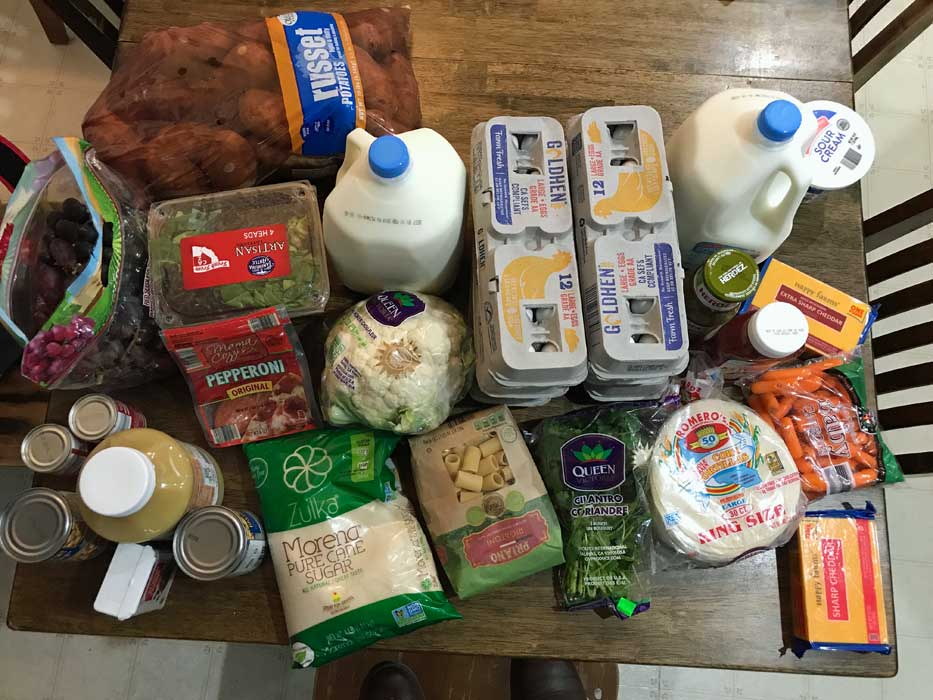 A bunch of groceries that are on a table
