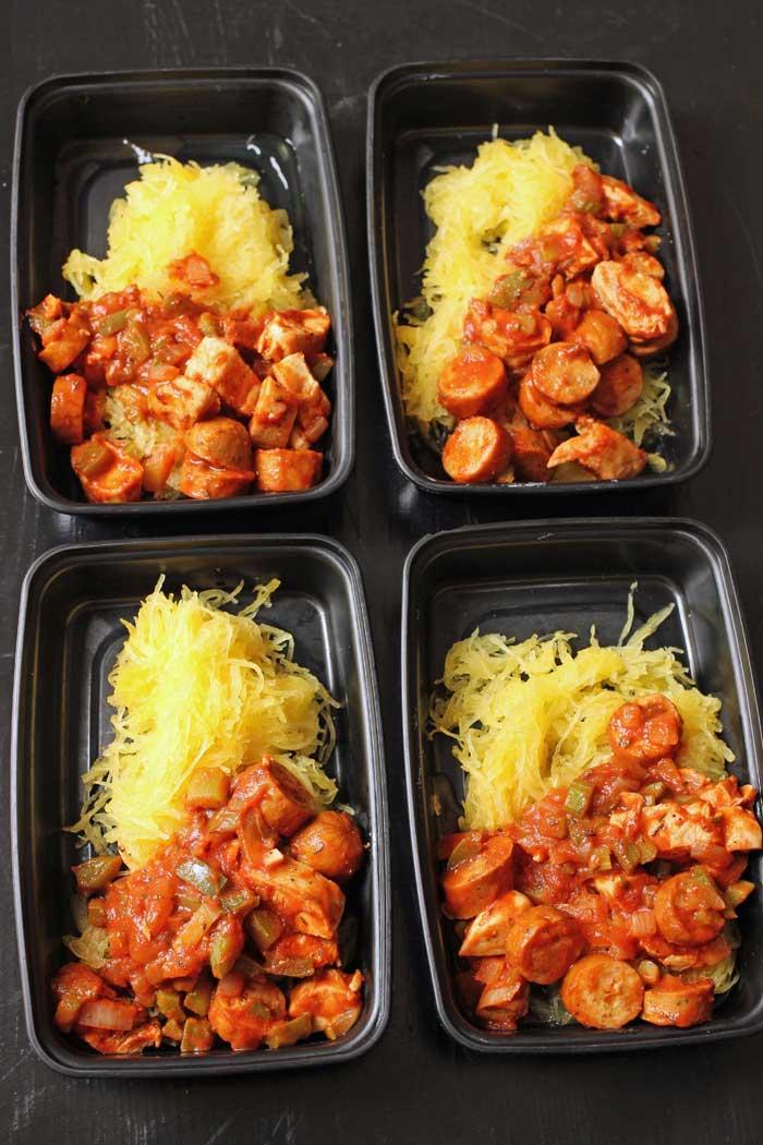 spaghetti squash jambalaya in meal prep boxes
