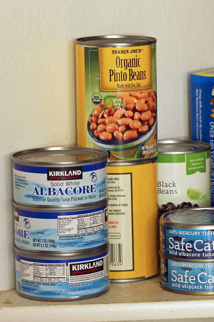 canned beans and tuna in pantry