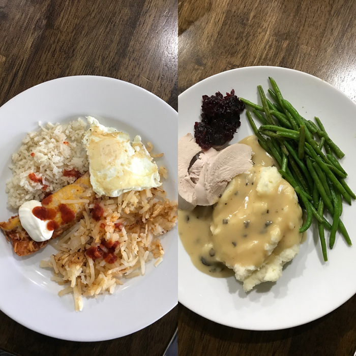 collage of pantry challenge meals day 1