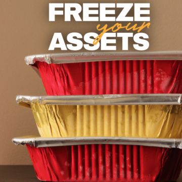 stack of freezer meals in gold and red containers