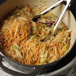 cooked chow mein in large pot