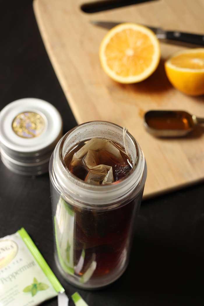 tea brewing for medicine ball