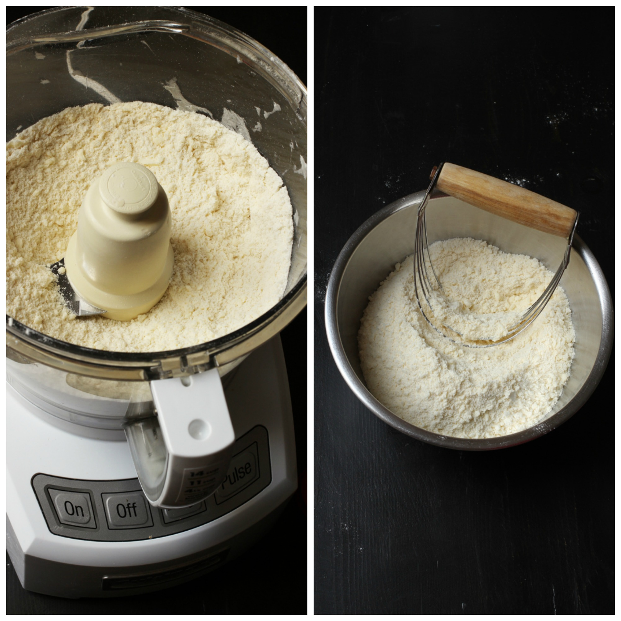 pie crust crumbles in food processor and in bowl with pastry blender