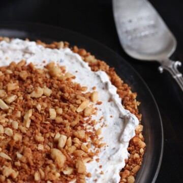 Toffee dream pie in dish