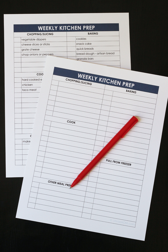 meal prep checklist printables