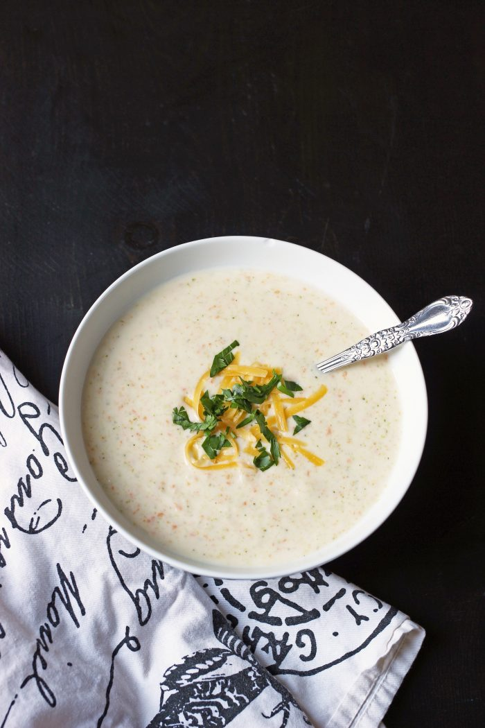 A bowl of Cauliflower soup, with cheese