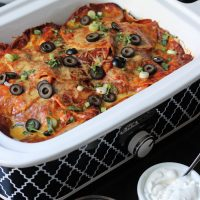 Bean and Meat Crockpot Enchilada