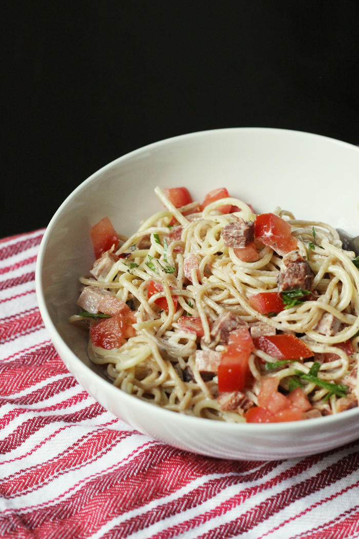 bowl of creamy noodles with ham