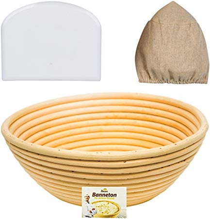 9 Inch Bread Banneton Proofing Basket Making Tools Bowl Proofer Making Sourdough Starter Kit Proofing Brotform Baking Supplies Baskets Banetton Bread Proofing Basket
