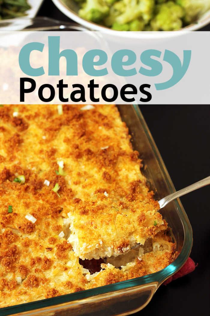 a pan of cheesy potatoes
