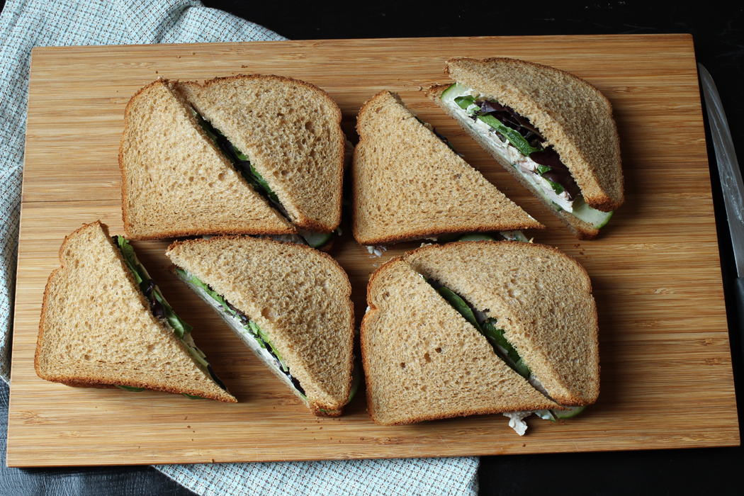 chicken salad sandwiches with cucumbers