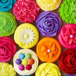 collage of colorful cupcakes