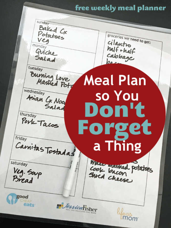 laminated meal plan