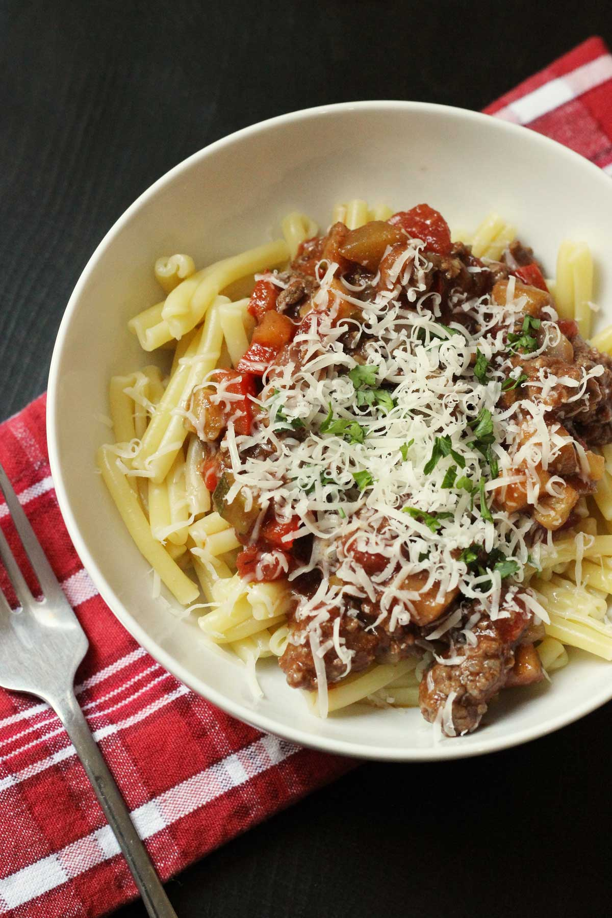 bowl of pasta and vegetable bolognese