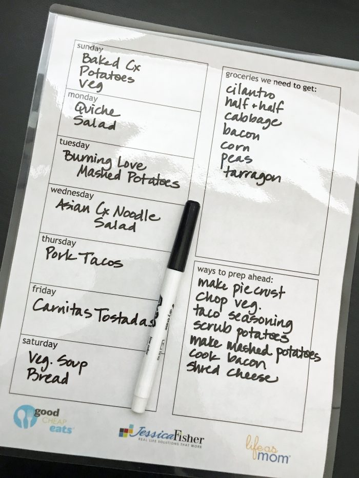 laminated weekly meal planner
