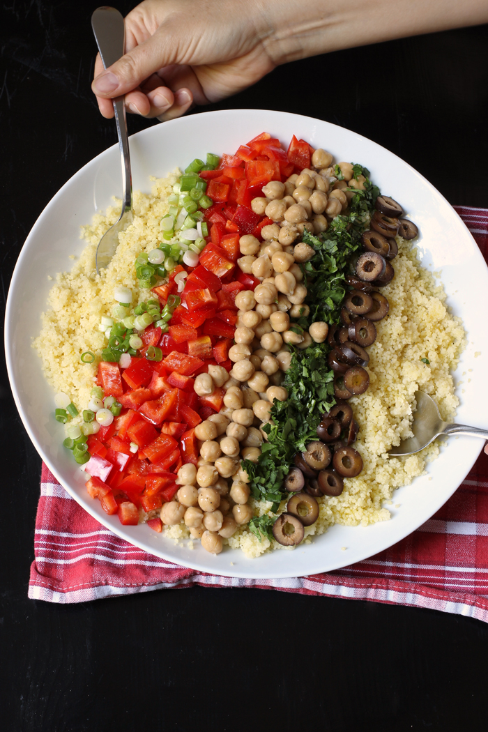 bowl of couscous with toppings