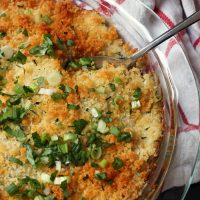 A dish of green bean casserole