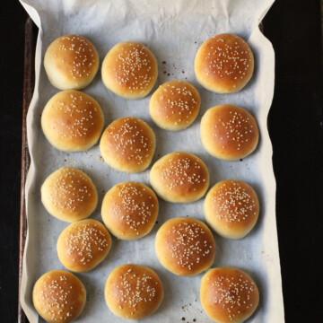 A pan of homemade burger buns